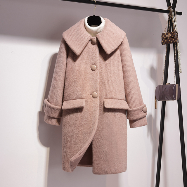 Winter 2018 New Korean Turn-collar Wool Overcoat Long Sweet Wool Overcoat Single Breasted Wide-waisted Korean Coat Fashion Pink
