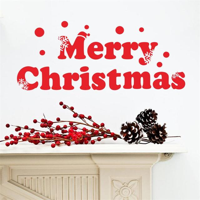 2016 red words Merry Christmas snowflake hats wall sticker for ...