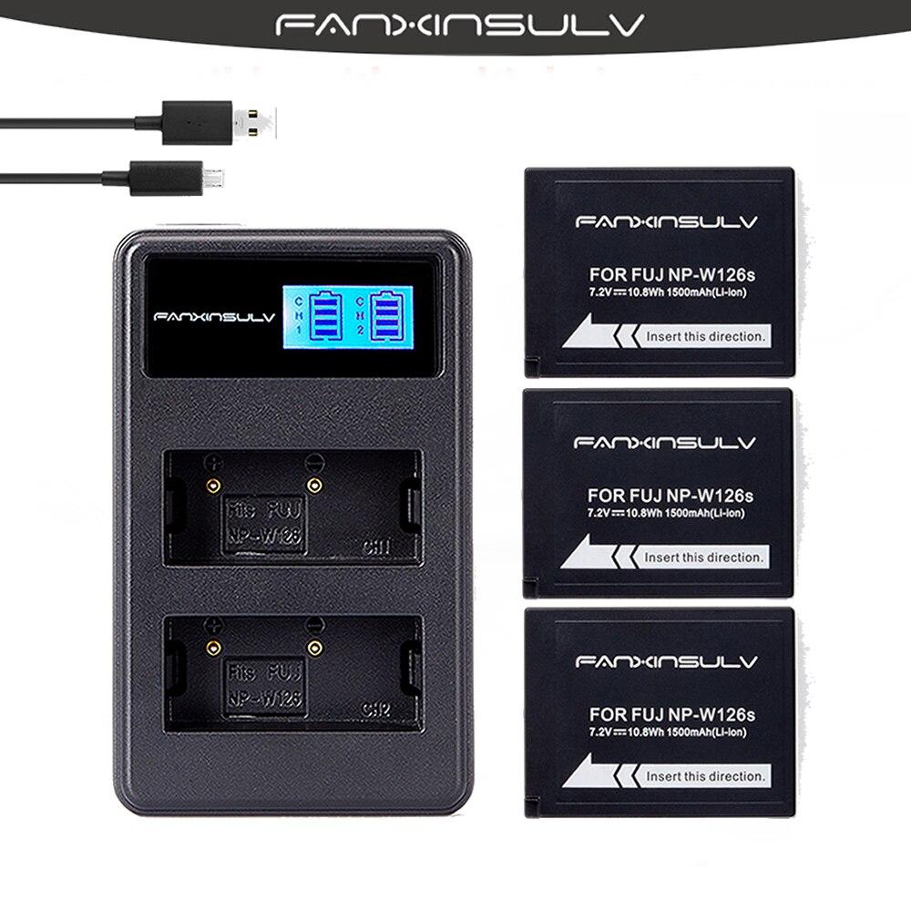 3 NP-W126 NPW126s Caméra Batteries + Chargeur LCD pour Fujifilm Fuji x-t20 X-Pro1 xt1 xt2 xt3 xa2 xa5 xa10 x e3 x100f HS30 33 35 50
