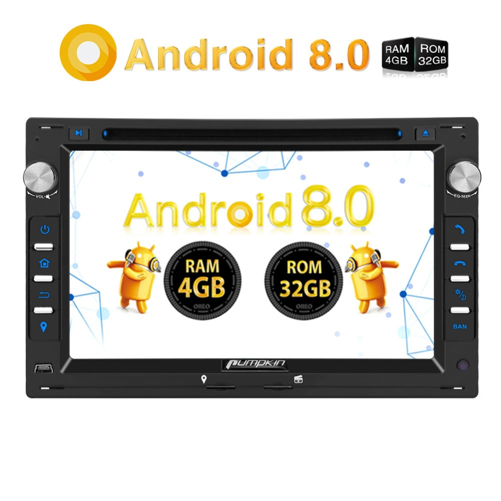 Pumpkin2 Din 7''Car Radio Android 8.0 Car DVD Player GPS 4G RAM Qcta-core Car Stereo Audio For VW/Golf/Passat Wifi FM Rds Radio