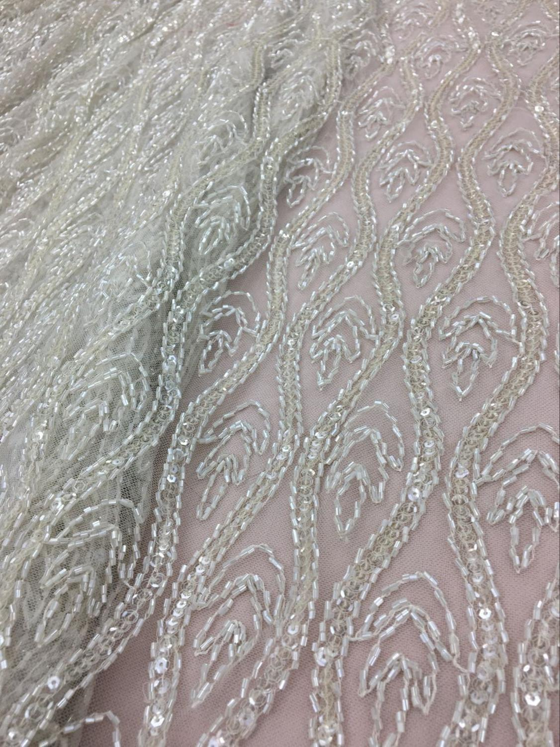 Beaded Lace Fabric Heavy Bead Lace Fabric For Haute Couture Dress High End Hand Beaded Lace Fabric Evening Dress Lace Fabric(China)