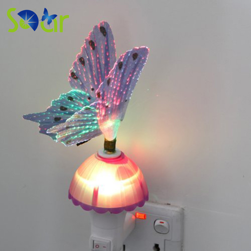 Rgb led butterfly night light fiber optical light sensor for Kids room night light