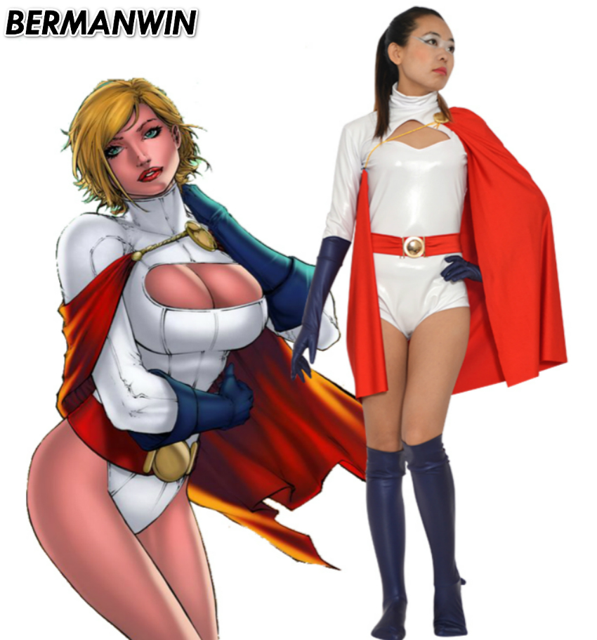 BERMANWIN High Quality Power Girl Costume white shiny material catsuit with cape Superhero Halloween Cosplay Costume