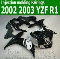 100% Injection molding fairings for YAMAHA R1 2002 2003 YZF R1 plastic fairing kit 02 03 black white bodyworks set JK51