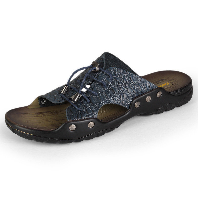 Merkmak 2018 New Men Schuhes Genuine Leder Holiday Beach Schuhes Men Flip Flops Men'S Casual 437f1c