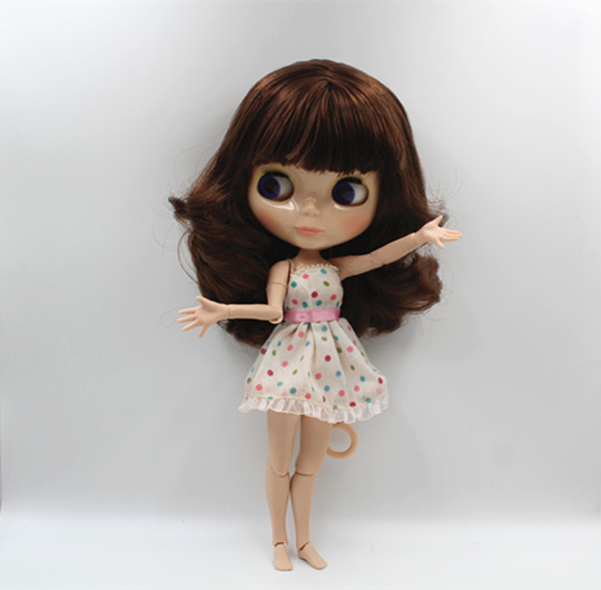 Blygirl Blyth doll Dark brown bangs short hair nude doll 30cm joint body 19 joint DIY doll suitable for changing makeup 25 28cm head blonde dark brown doll hair for handmade doll hair for homemade cloth toy diy dolls 18 inch doll hair repair 006