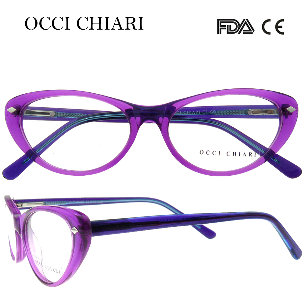 OCCI CHIARI 2018 New Fashion Women cat eye Acetate Glasses Optical Frames Eyewear Eyeglasses For Girl Gift Purple Pink W-CARRO