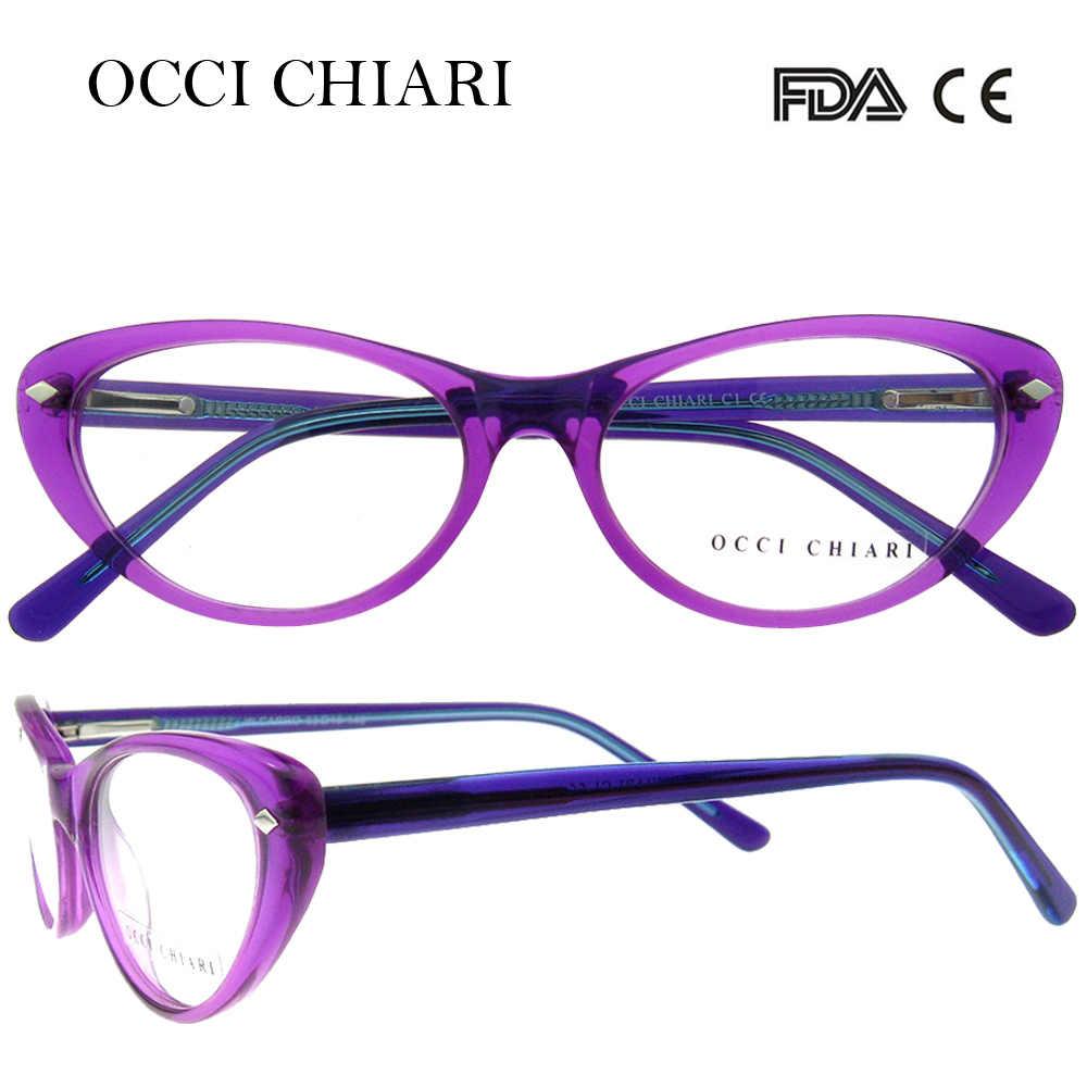 ad6f2dec42e Detail Feedback Questions about OCCI CHIARI 2018 New Fashion Women cat eye  Acetate Glasses Optical Frames Eyewear Eyeglasses For Girl Gift Purple Pink  W ...