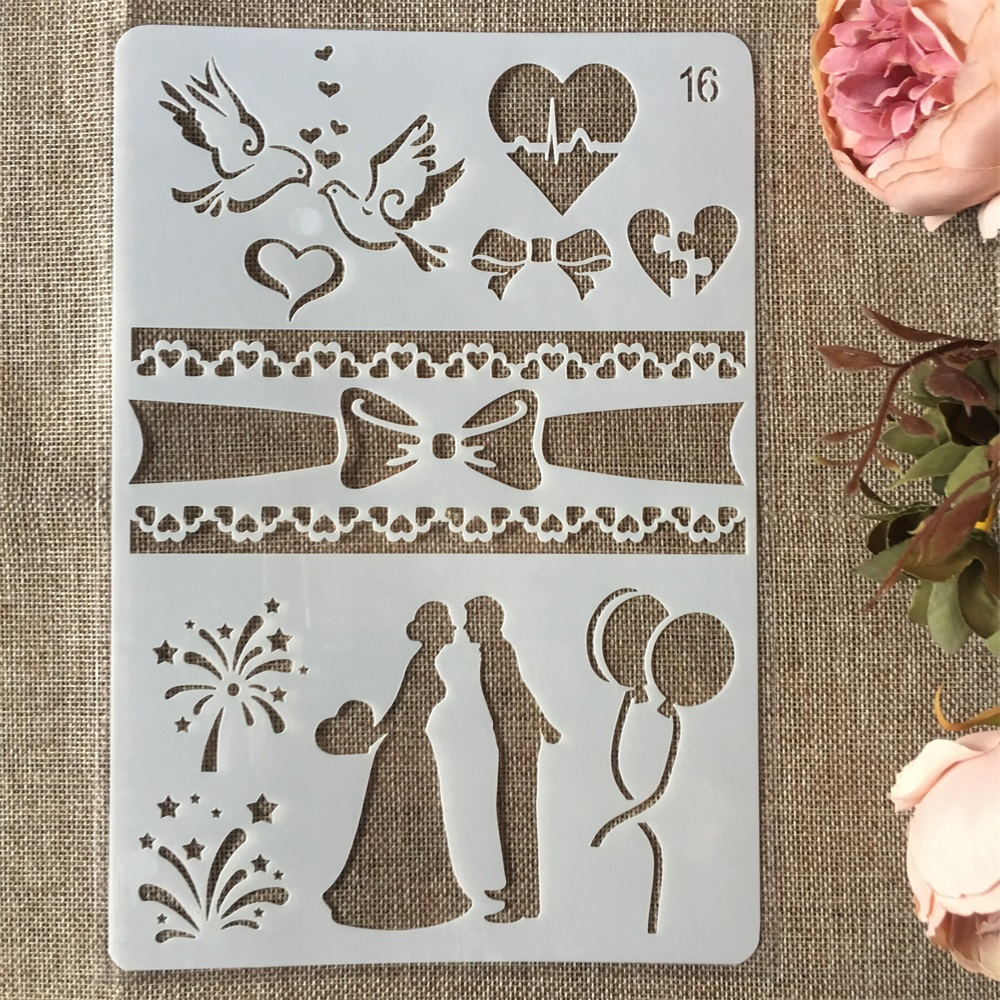 New 26cm Couple Love Wedding DIY Craft Layering Stencils Painting Scrapbooking Stamping Embossing Album Paper Card Template