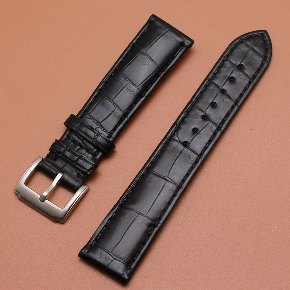 TOP Crocodile Leather Watchbands black with special pattern stainless steel buckle clasp for men hours replacement band 20mmTOP Crocodile Leather Watchbands black with special pattern stainless steel buckle clasp for men hours replacement band 20mm