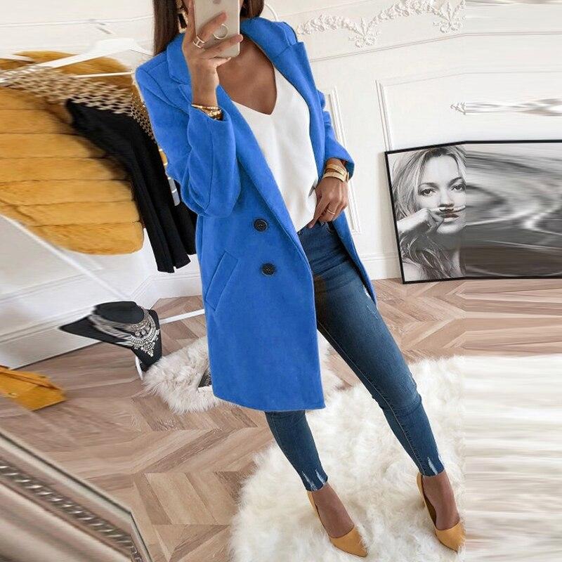 Women Autumn Winter Woollen Coat Long Sleeve Turn-Down Collar Oversize Blazer Outwear Jacket Elegant Overcoats Loose Plus Size 6