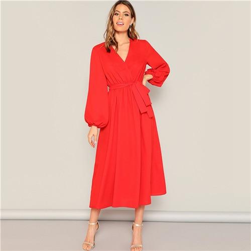 Lantern Sleeve Surplice Neck Wrap Belted Dress Women Long Dresses Red Neon Bright Flared Hem Spring Dress