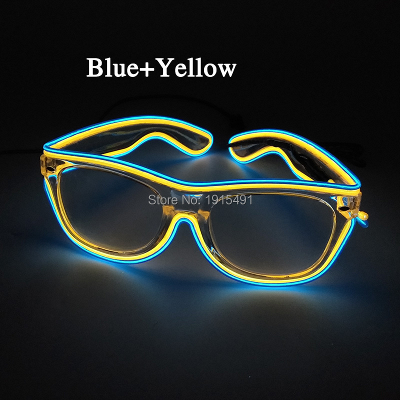 Personalized Neon Led Bulbs Funny Sunglasses Christmas Decor EL Wire Cold Light Creative Eyewear as DIY Glow Clothes Accessories 50pcs neon led bulbs crazy masquerade glasses light up el wire glowing hip hop eyewear as concert fluorescent party supplies