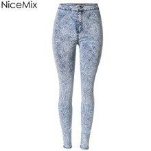 NiceMix 2016 Skinny Jeans Woman Pencil Pants Casual High Waist Plus Size Snowflake jeans Denim Femme Calca Feminina