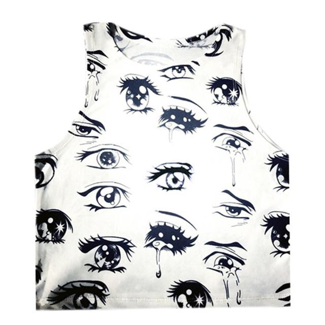 2017 New Women Casual Fashion T Shirt Cartoon Pattern Vest Tops Summer Sleeveless T-Shirt Crop Top