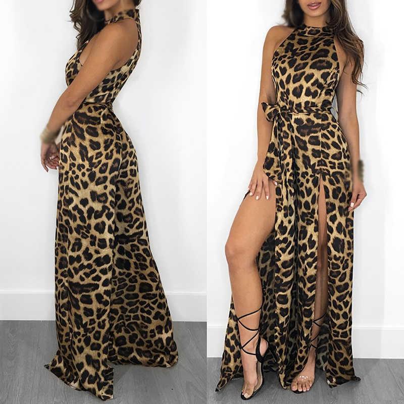 Las mujeres señoras Sexy leopardo trajes Halter playa partido pierna Clubwear