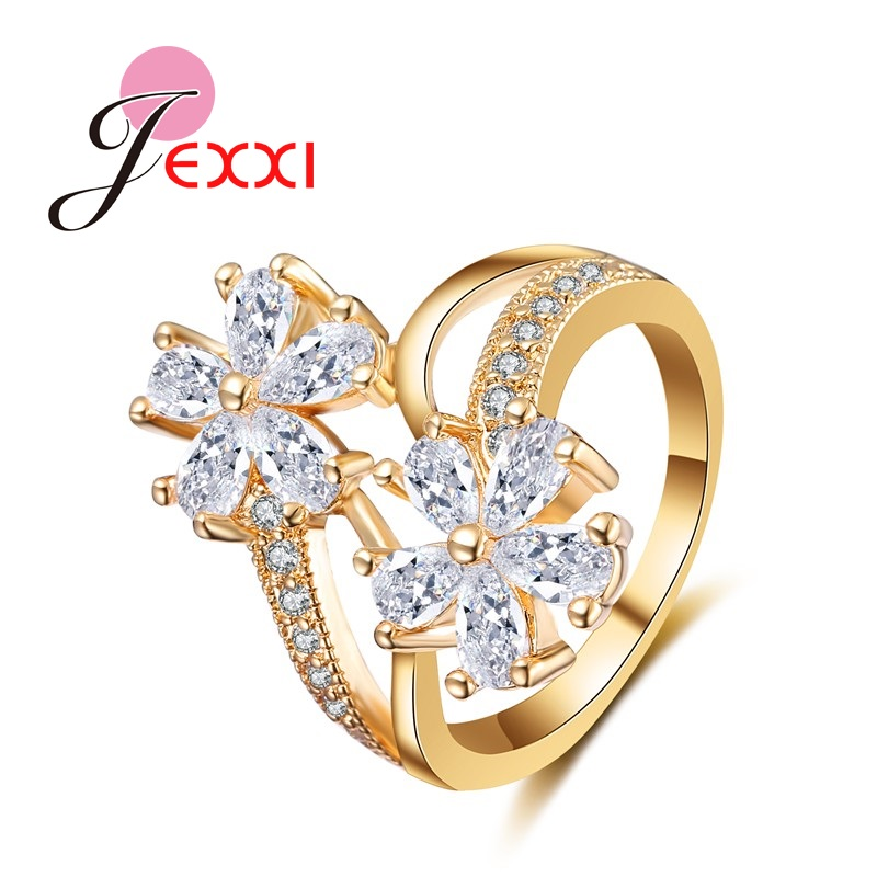 JEXXI Gorgeous Women Finger Jewelry Fashion Two Clear Crystal Flowers Luxury Gold Quality New Arrival Lady Wedding Rings