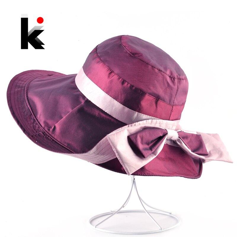 Sunmmer Vintage Sun Cap Women Bow-knot Romantic Beach Hat For Lady Outdoor  Casual Foldable Panama Hats Female Floppy Chapeau 2c96ffc9419