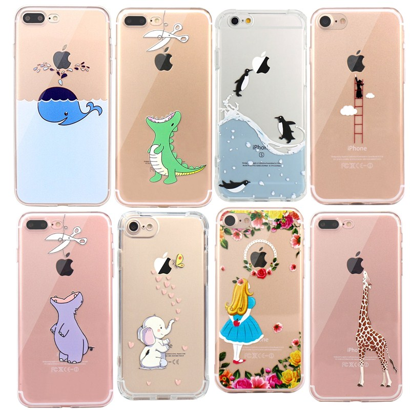 For iphone Se Case Cute Animals Crocodile Panda Penguin Soft Silicon Case Cover for IPhone 7 6 6S 8 Plus 5S 5 Transparent Capa image