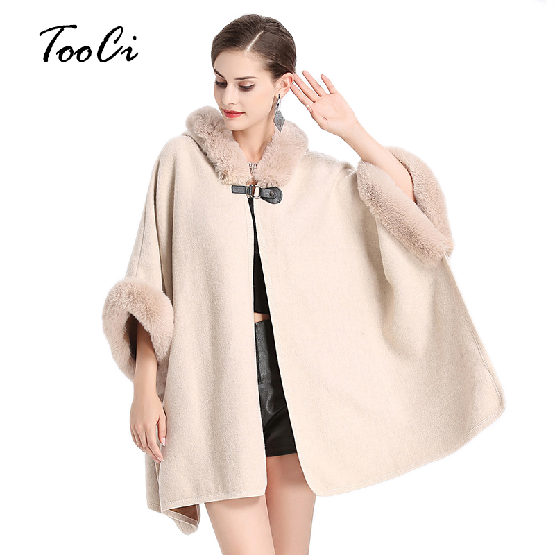 Faux Fur Coat Spring Women Fashion Beige Poncho And Capes Women Fake Fur Hooded Casual Cloak Long Women Sweater Knitted Cardigan