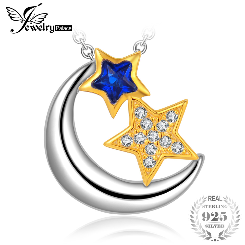JewelryPalace Star Shape Created Sapphire Cubic Zirconia Crescent Moon Pendants 925 Sterling Silver Jewelry Not Include A ChainJewelryPalace Star Shape Created Sapphire Cubic Zirconia Crescent Moon Pendants 925 Sterling Silver Jewelry Not Include A Chain