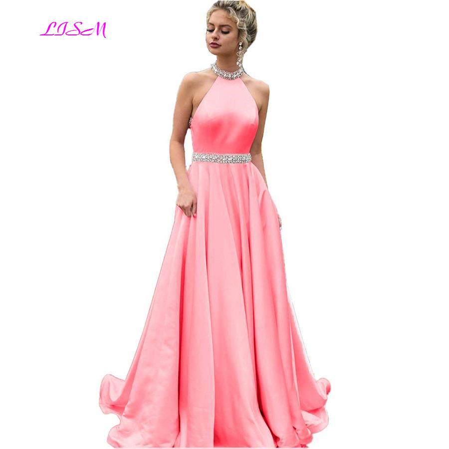Pink Long Prom Dresses 2019 A-Line Halter Beaded Evening Party Dresses Sexy Backless Robe De Soiree Girls Gala Dress Custom Made