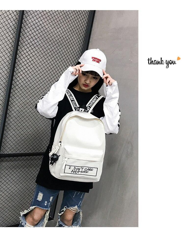 HTB11ah8aQ9E3KVjSZFGq6A19XXaG 2019 New Backpack Fashion Canvas Women Backpack Doll Pendant Travel Women Shoulder Bag Harajuku Backpack Female Mochila Bagpack