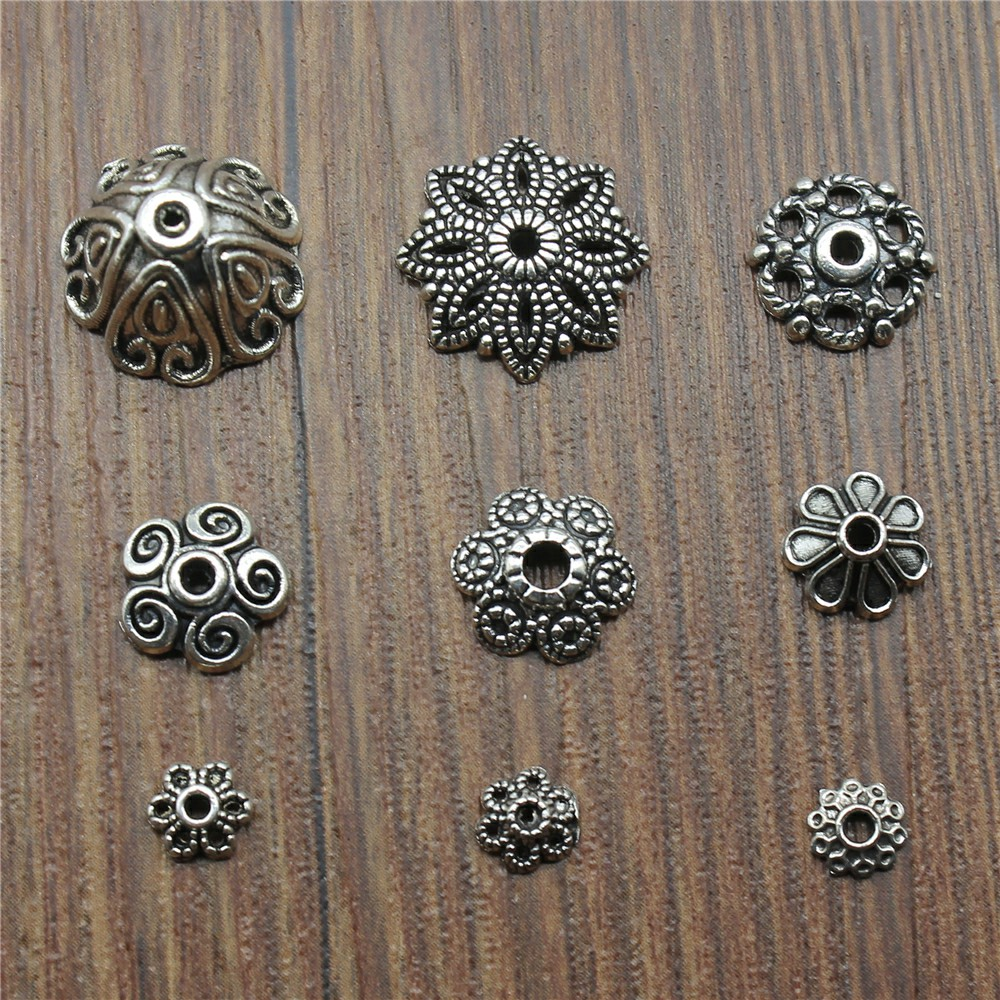 50pcs Pendant Antique Silver Color Bead Caps Charms Pendants Jewelry Accessories DIY Receptacle Charms Bead Caps Charms