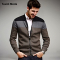 Autumn Mens Fashion Sweaters Patchwork Knitted Cardigan Knitting Brand Clothing Man's Slim Knitwear Sweatercoats Tops