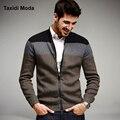 Otoño Moda Hombre Sweaters Patchwork de Punto Cardigan Sweatercoats Tejer Ropa de la Marca del Hombre Prendas de Punto Delgado Tops