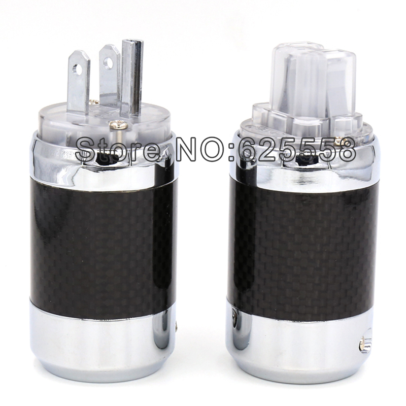 Without Logo Carbon Fiber Rhodium Plated US Power Plug Connector HIFI IEC Female plug