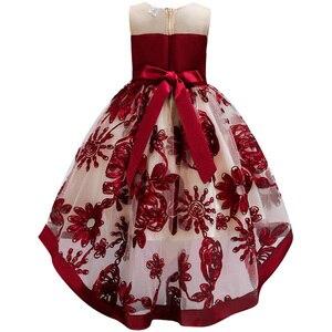 Image 2 - Baby Meisjes Jurk Van Bloem Meisje Jurk Voor Meisjes Kleding Prinses Wijn Rode Trouwjurk Trailing Kinderen Kids Party Dress