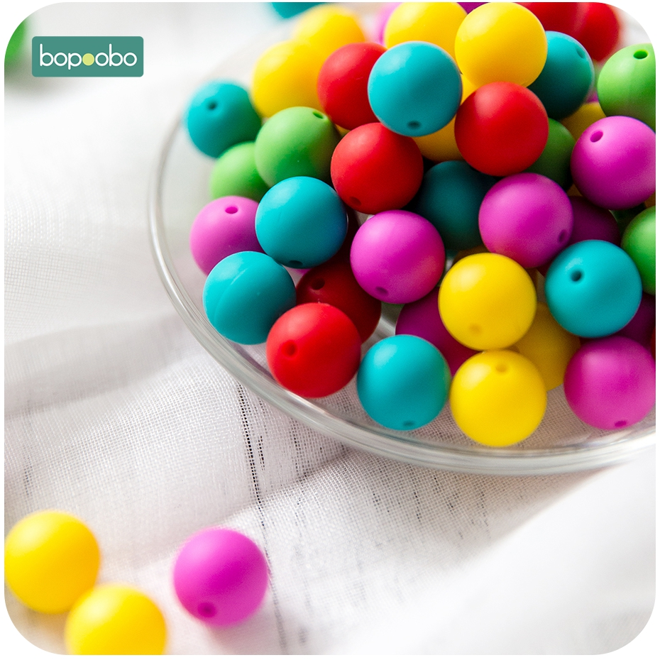 Bopoobo 30pc Silicone Beads 15mm Teething Round Bead For Newborn Pacifier Clip Baby Mobile BPA Free Baby Teether Tiny Rodent