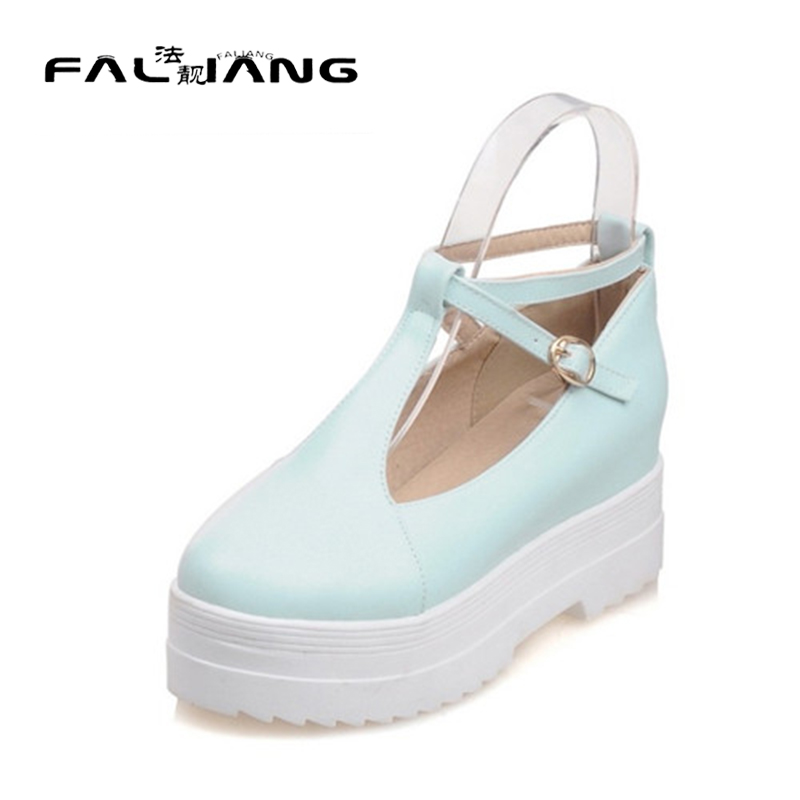 ФОТО 2016 Autumn Punk Rock Gothic High Platform Creepers Woman Shoes Round Toe T-Strap Flat Platform Date Comfort Shoes Plus Size 360