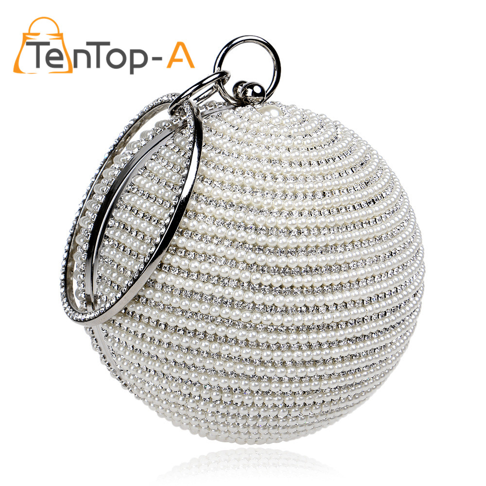 TenTop-A 2piece Round Ball Pearl Beaded Clutches Bags Women Luxury Full Pearl Small Bag Wedding Party Bags Cross Body Handbags