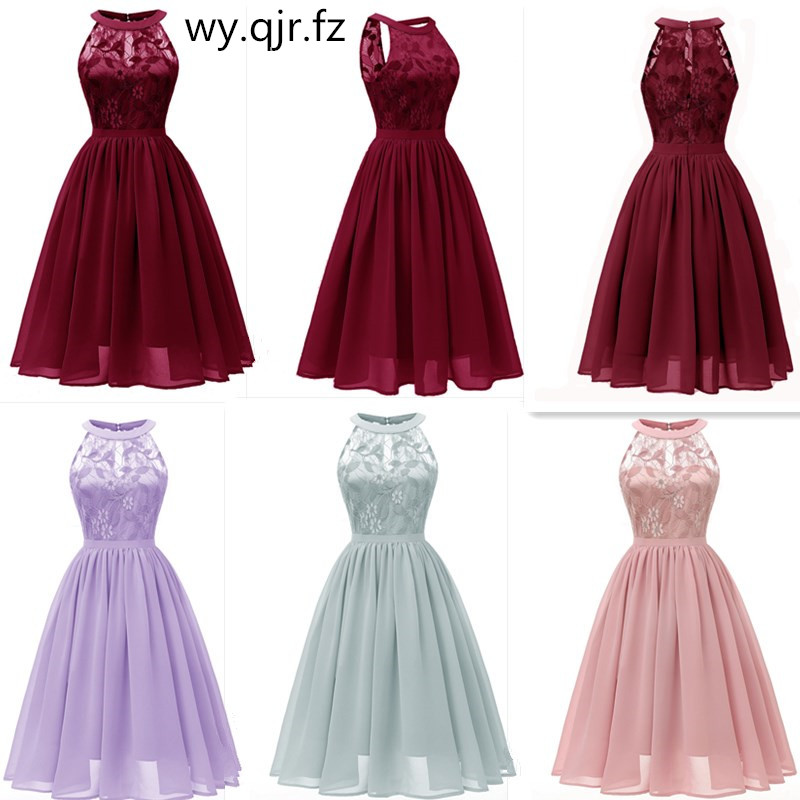 CD1645#Chiffon Halter Neck Lace Pink wine red dark blue green Violet   Bridesmaid     Dresses   short party prom   dress   girl wholesale