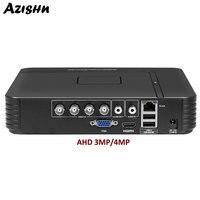 AZISHN AHD 4MP DVR 4CH/8CH Video Recorder H.264 ONVIF WIFI VGA HDMI Video Output Hybrid 5 In 1 AHD/TVI/CVI/CVBS/IP Surveillance