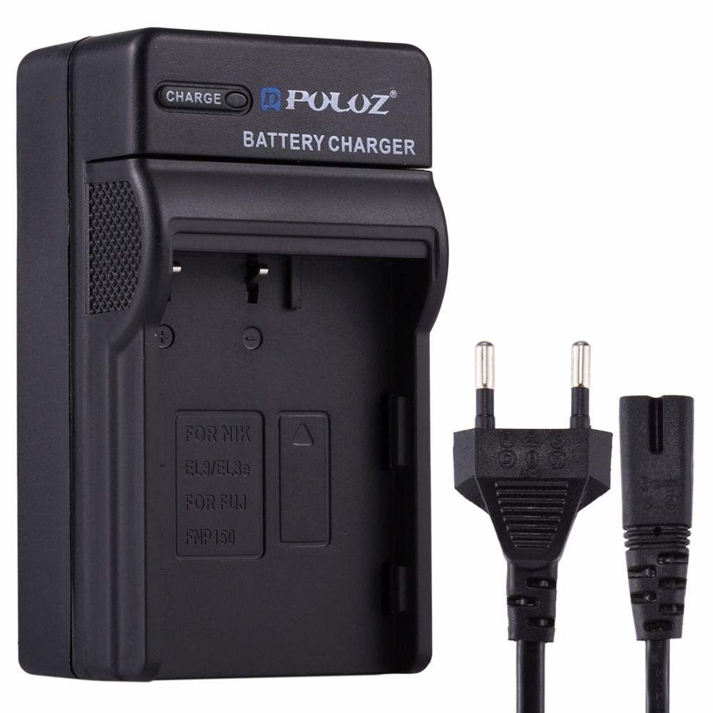PULUZ EU Plug Battery Charger with Cable for Nikon EN-EL3 / EN-EL3e Coolpix D50, Coolpix D70S, Coolpix , FUJI FNP150 Battery