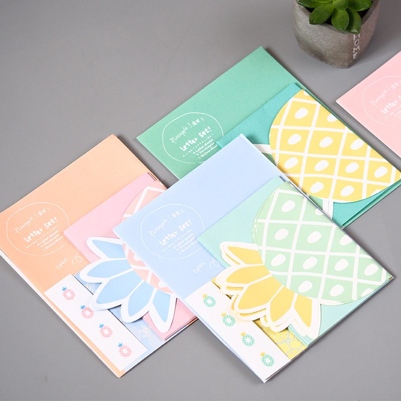 1 Set\u003d4 Letters + 4 Envelopes+ 1 Sticker Sheet Fresh Pineapple Paper