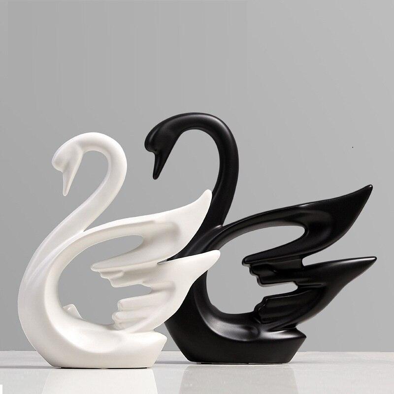 Decorações animais Casais Cisne Escultura de Arte Branco E Preto de Cerâmica Artesanato Moderno Simples Casa Decorações R955|Estátuas e esculturas| |  - title=