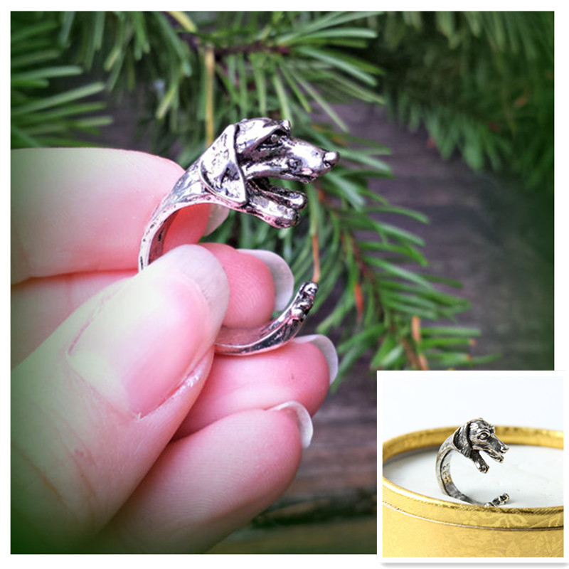 10pcs/lot Vintage Hippie Chic Dachshund Dog Ring Animal Sausage Dog Boho Ring Brass Knuckles Rings For Men Women Hot Jewelry