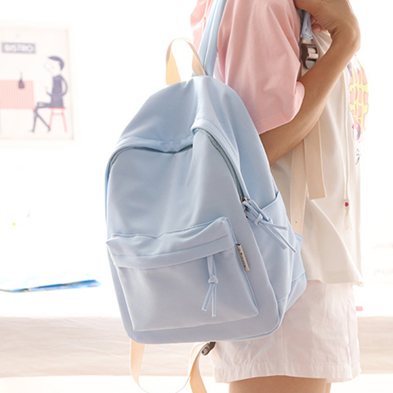 Simple Fresh Design Pure Color Women Backpack Fashion Girls Leisure Bag School Student Book Bag Teenager Travel Bag Young