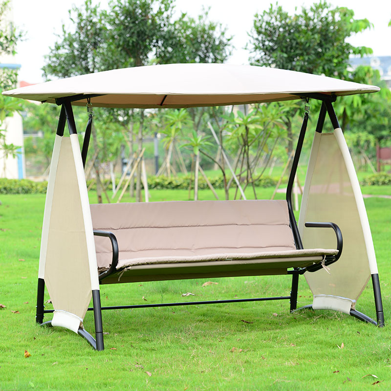 Outdoor covered swing bench w/canopy seats 3 garden backyard patio hammock chair with cushion patio leisure luxury durable iron garden swing chair outdoor sleeping bed hammock with gauze and canopy