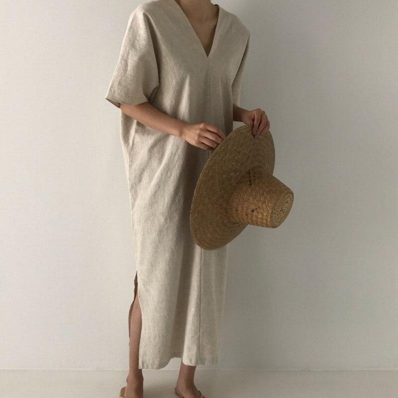 Summer Solid V neck Midi Dress Korean Short Sleeve Split Dress Flare Sleeve Loose Casual Dress in Dresses from Women 39 s Clothing