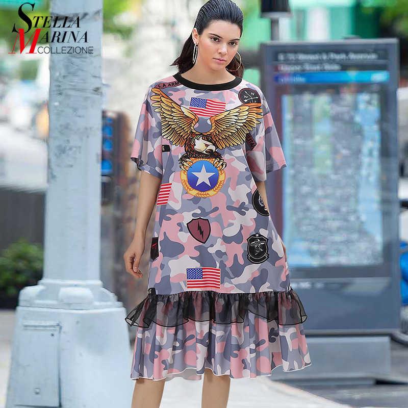 Женское платье с рисунком орла, повседневное свободное платье средней длины, модель 4978 в европейском стиле, на лето, 2019