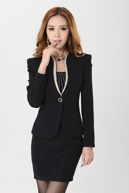 a312ad08b Traje de mujer de primavera 2015 por encargo negro elegante mujeres traje  de negocios formal trajes