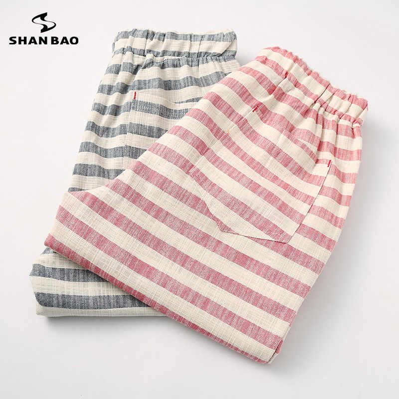 SHAN BAO marcas hombres 2019 pantalones cortos de verano estilo de moda y cómodos pantalones cortos de playa de ocio de rayas de algodón transpirables para hombre