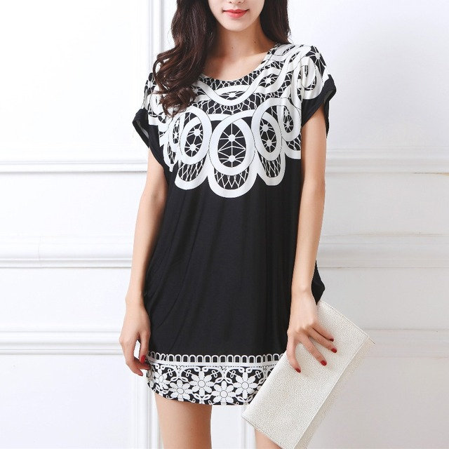2018 summer new women T Shirt Dress Plus Size mini dress short sleeve Loose Casual butterfly tunic dresses large big  XL-5XL
