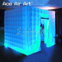 Красочные и меняющиеся светодиодные фото pod надувные photo booth, кубический fotopod, выставки и забавные вечерние куб со складными занавесками