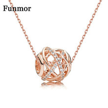 Funmor Round Cutout Inlaid Zircon 925 Sterling Silver Necklace For Girls Women Party Appointment Prom Fine Jewelry Accessories
